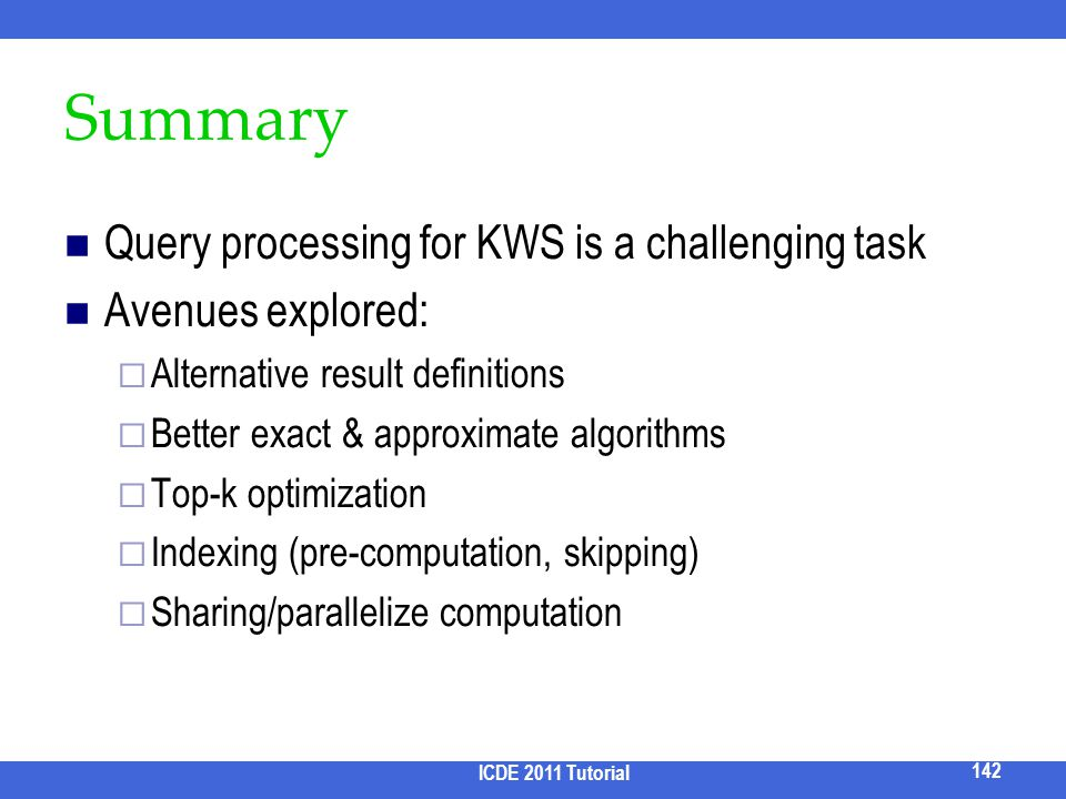 Summary Query processing for KWS is a challenging task