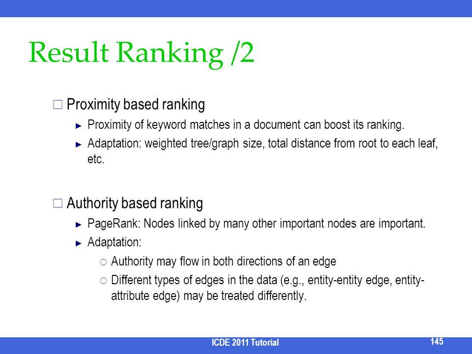 Result Ranking /2 Proximity based ranking Authority based ranking