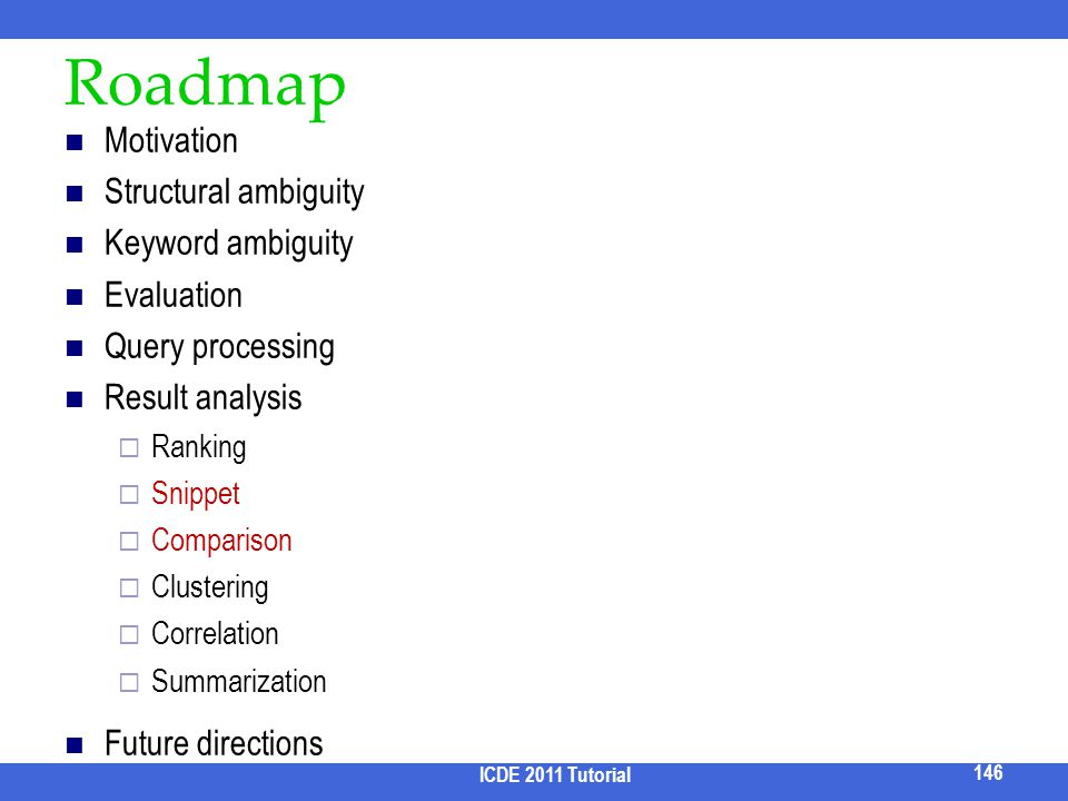 Roadmap Motivation Structural ambiguity Keyword ambiguity Evaluation