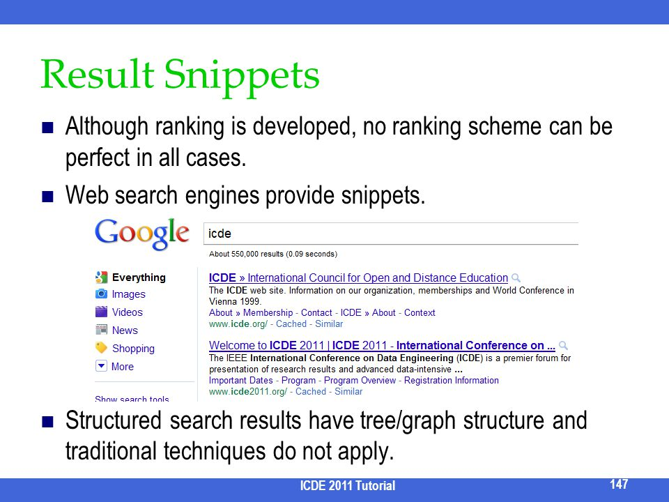 2017/3/31 Result Snippets. Although ranking is developed, no ranking scheme can be perfect in all cases.