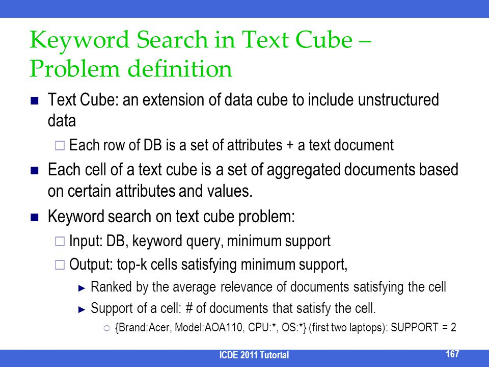 Keyword Search in Text Cube – Problem definition