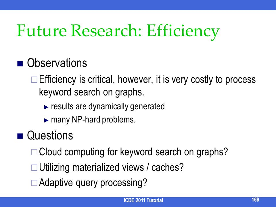 Future Research: Efficiency