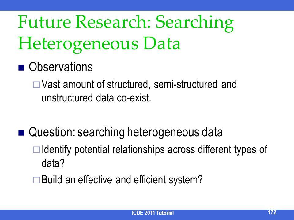Future Research: Searching Heterogeneous Data