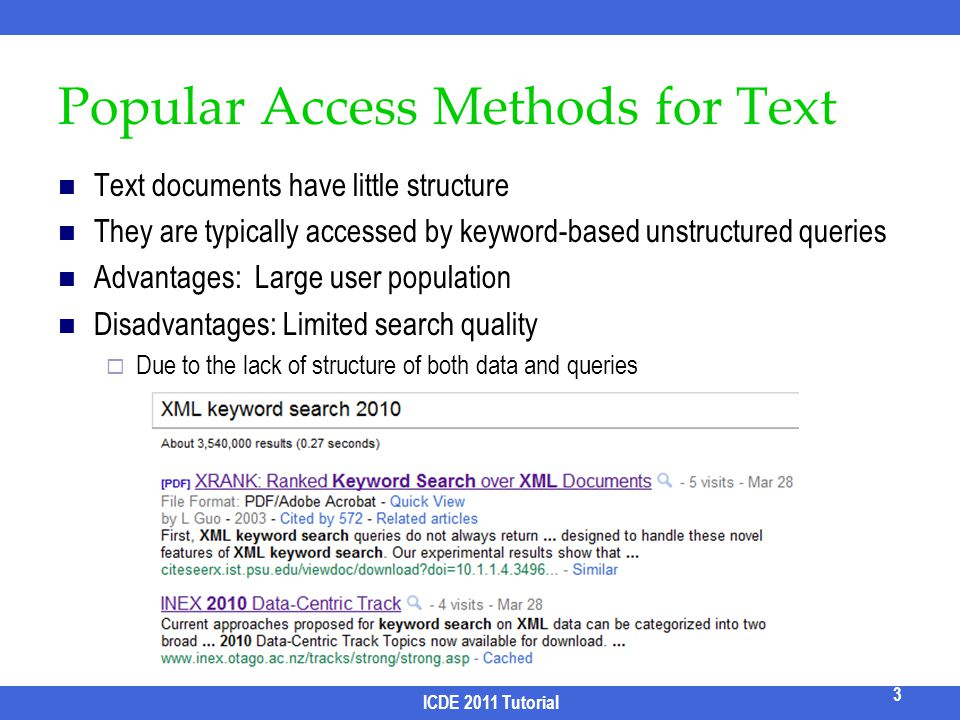 Popular Access Methods for Text