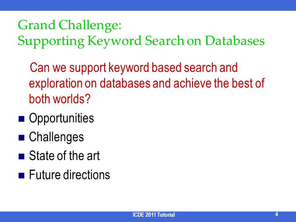 Grand Challenge: Supporting Keyword Search on Databases