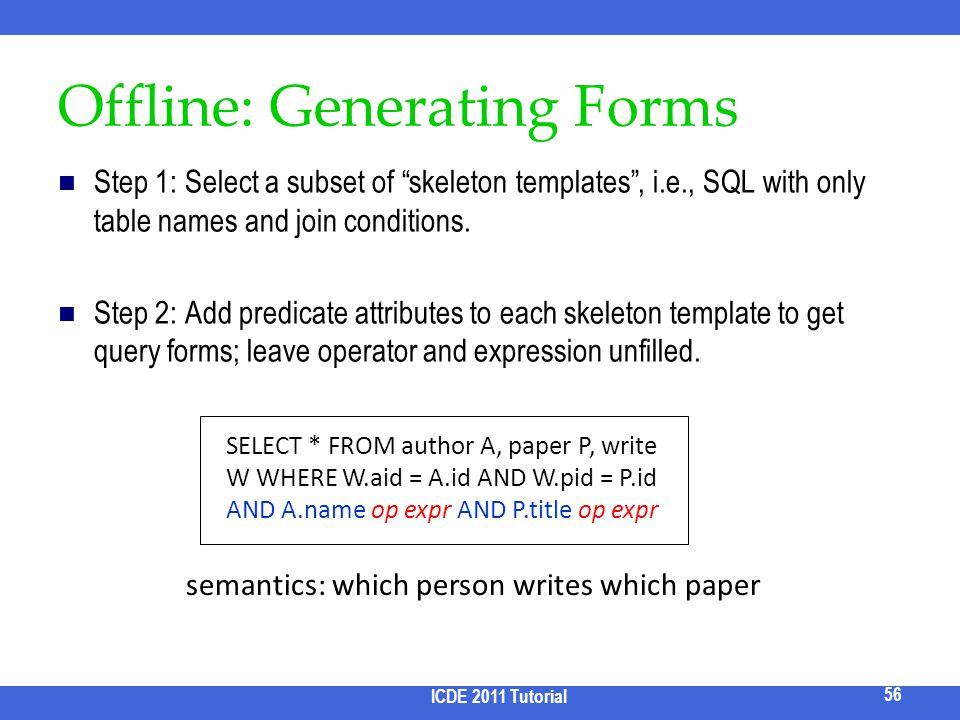 Offline: Generating Forms