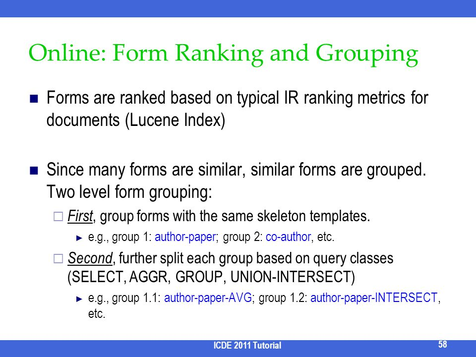 Online: Form Ranking and Grouping