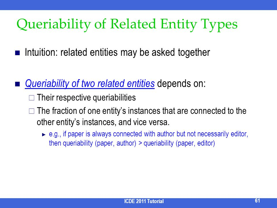Queriability of Related Entity Types
