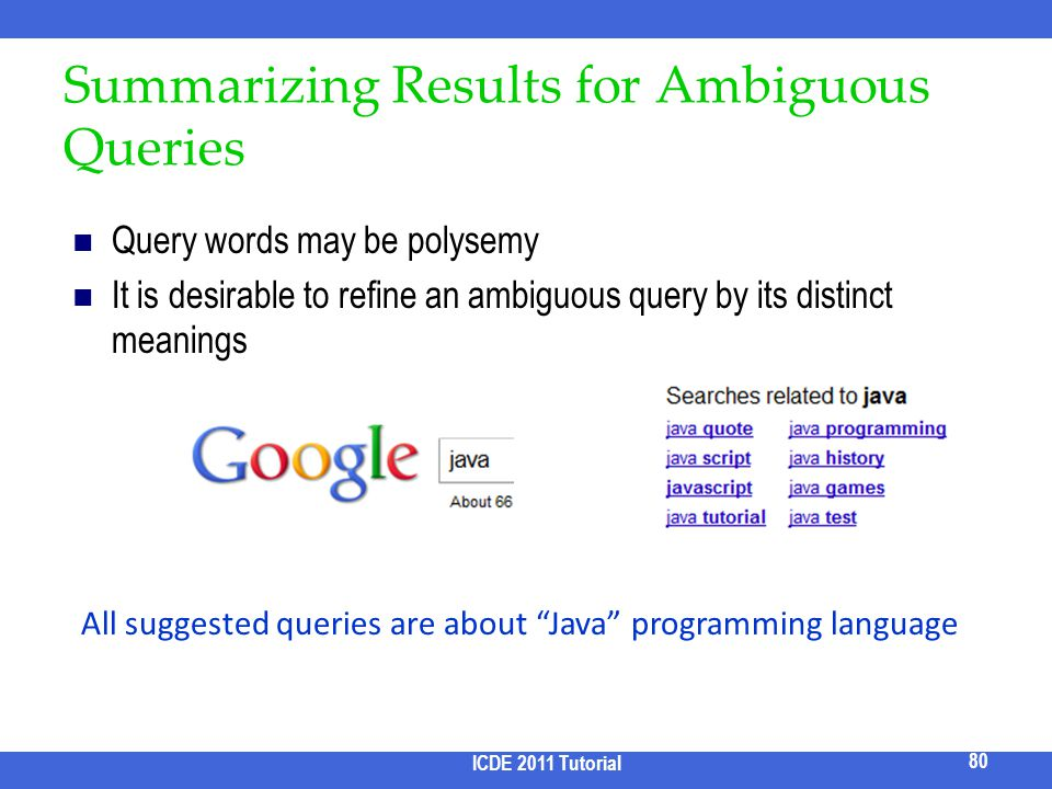Summarizing Results for Ambiguous Queries