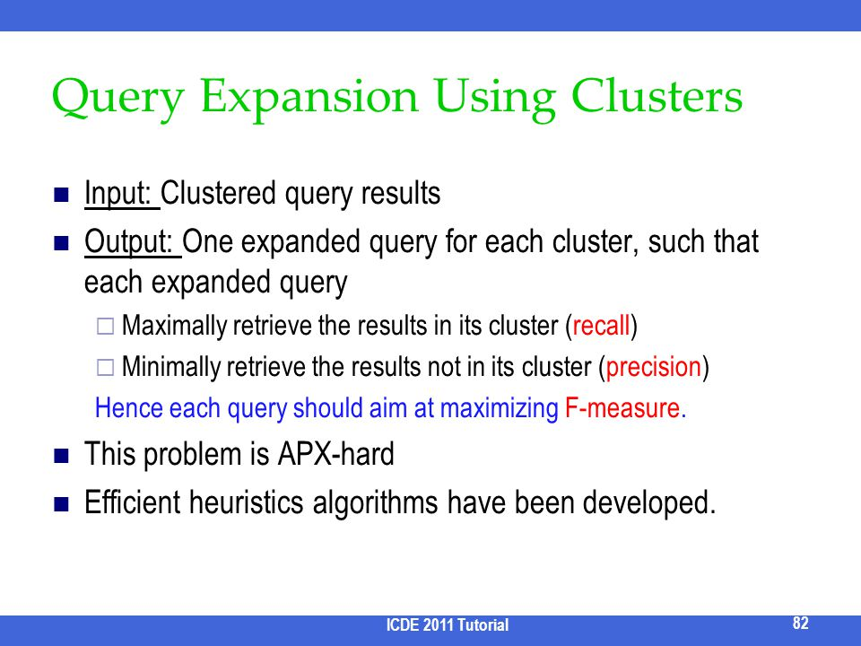 Query Expansion Using Clusters