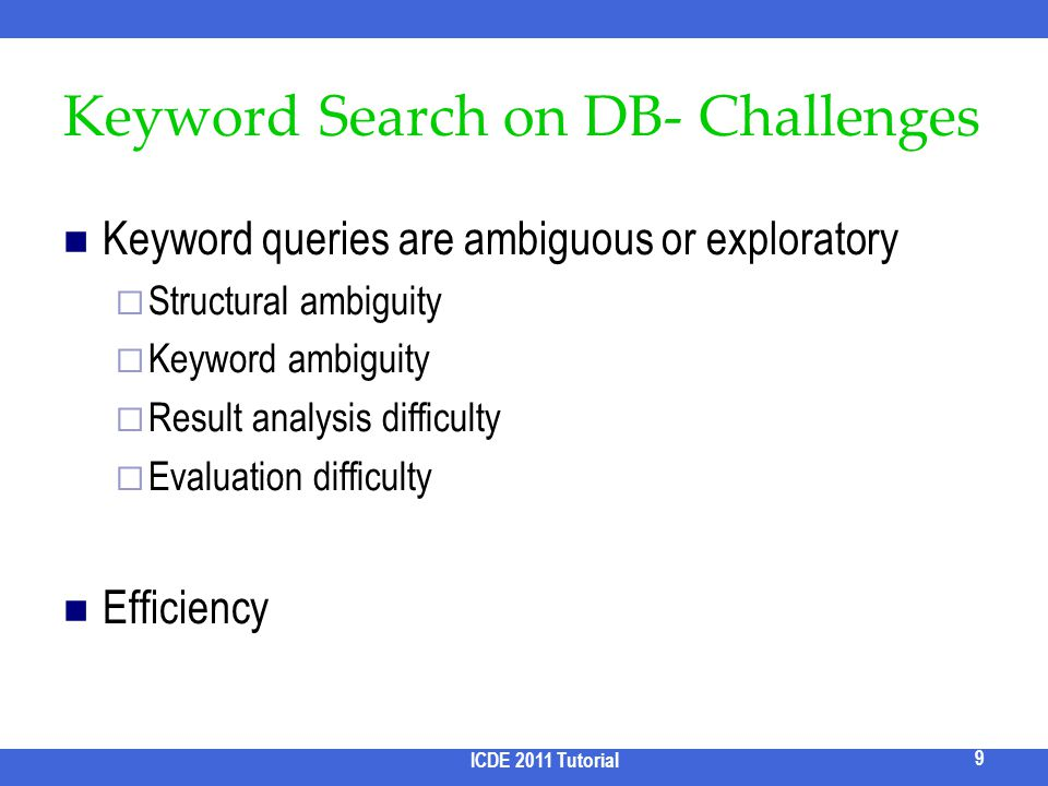 Keyword Search on DB- Challenges