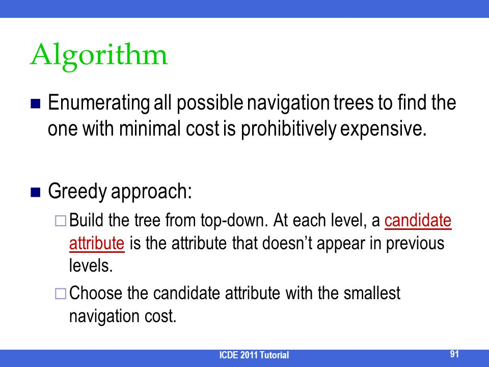 2017/3/31 Algorithm. Enumerating all possible navigation trees to find the one with minimal cost is prohibitively expensive.