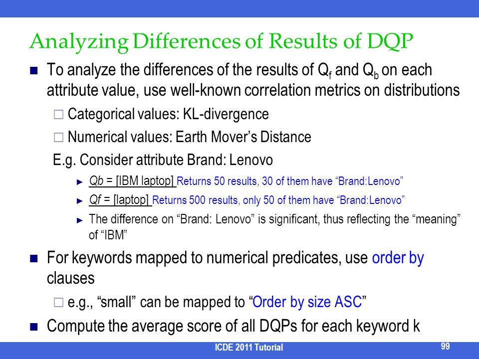 Analyzing Differences of Results of DQP