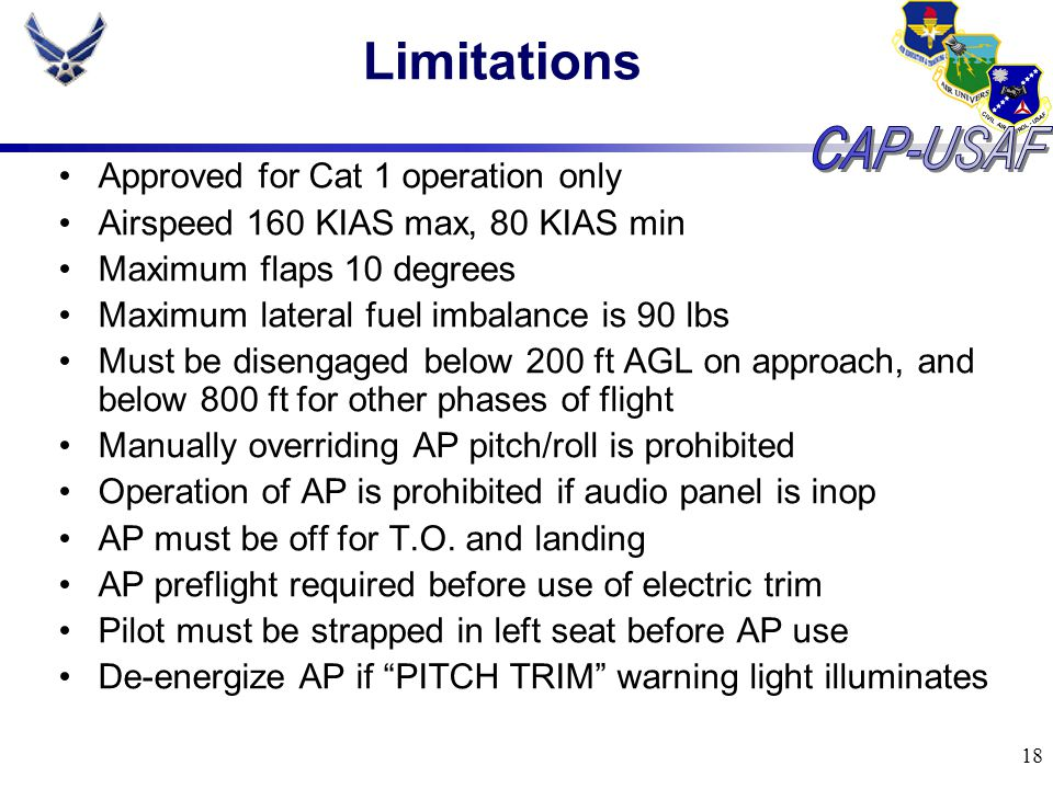 Limitations Approved for Cat 1 operation only
