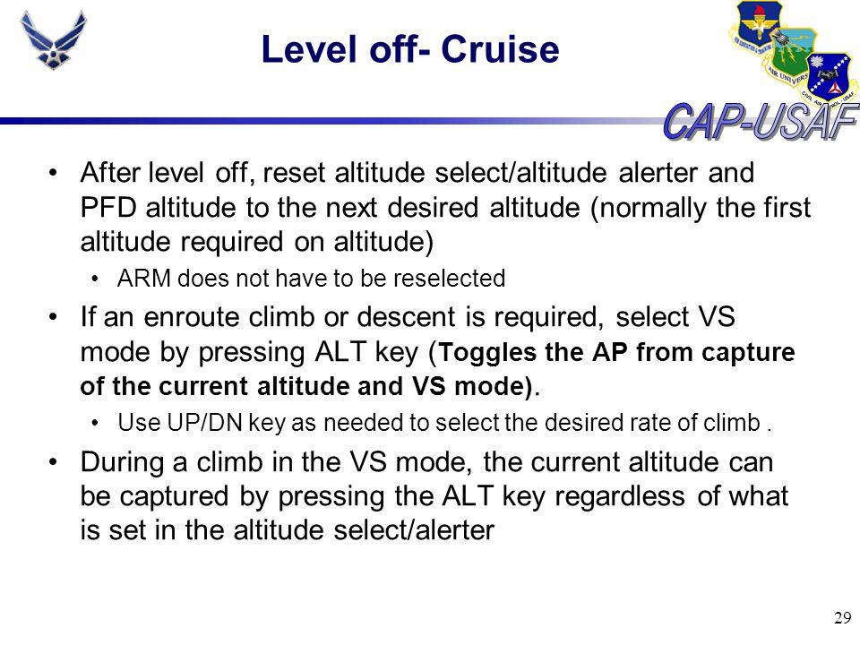 Level off- Cruise