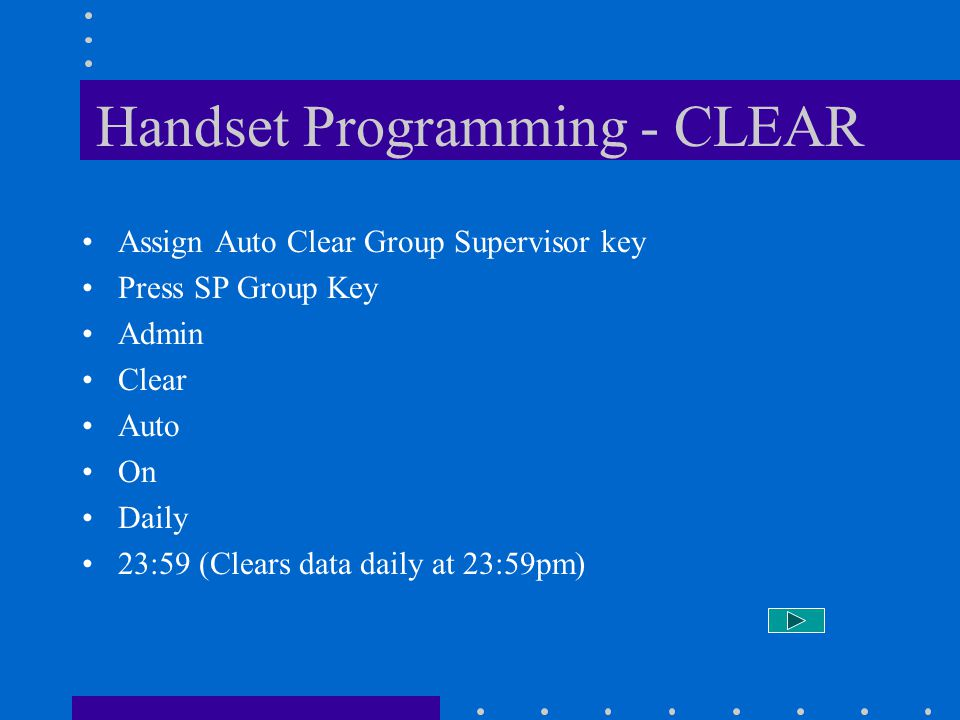 Handset Programming - CLEAR