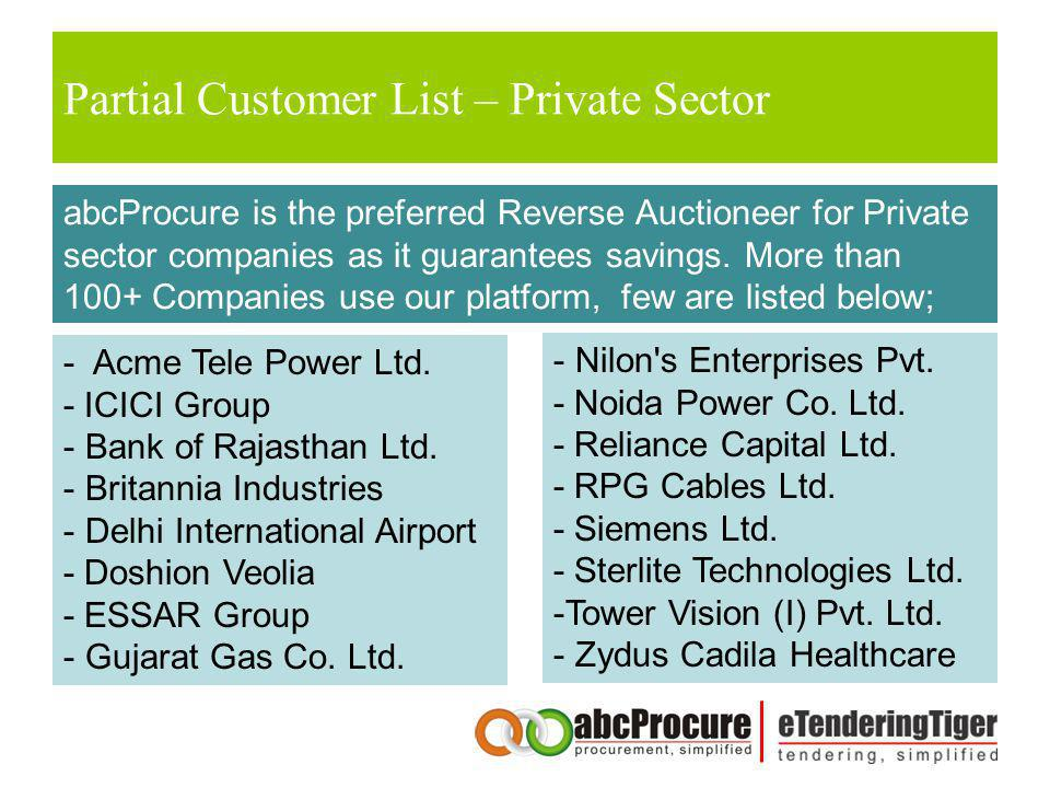 Partial Customer List – Private Sector