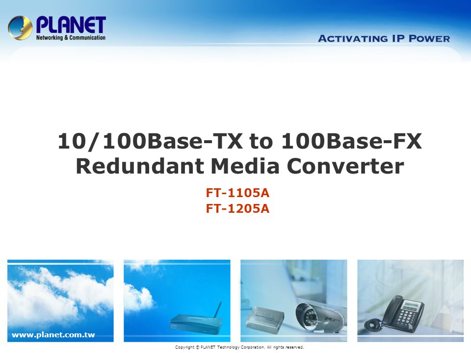 10/100Base-TX to 100Base-FX Redundant Media Converter