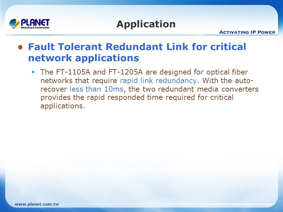 Fault Tolerant Redundant Link for critical network applications