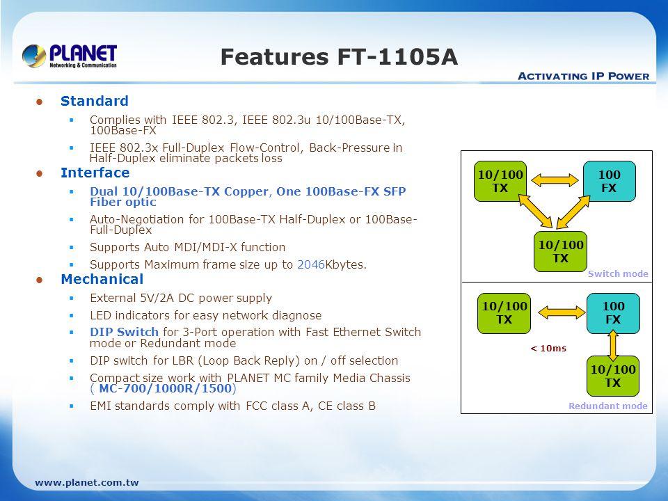 Features FT-1105A Standard Interface Mechanical