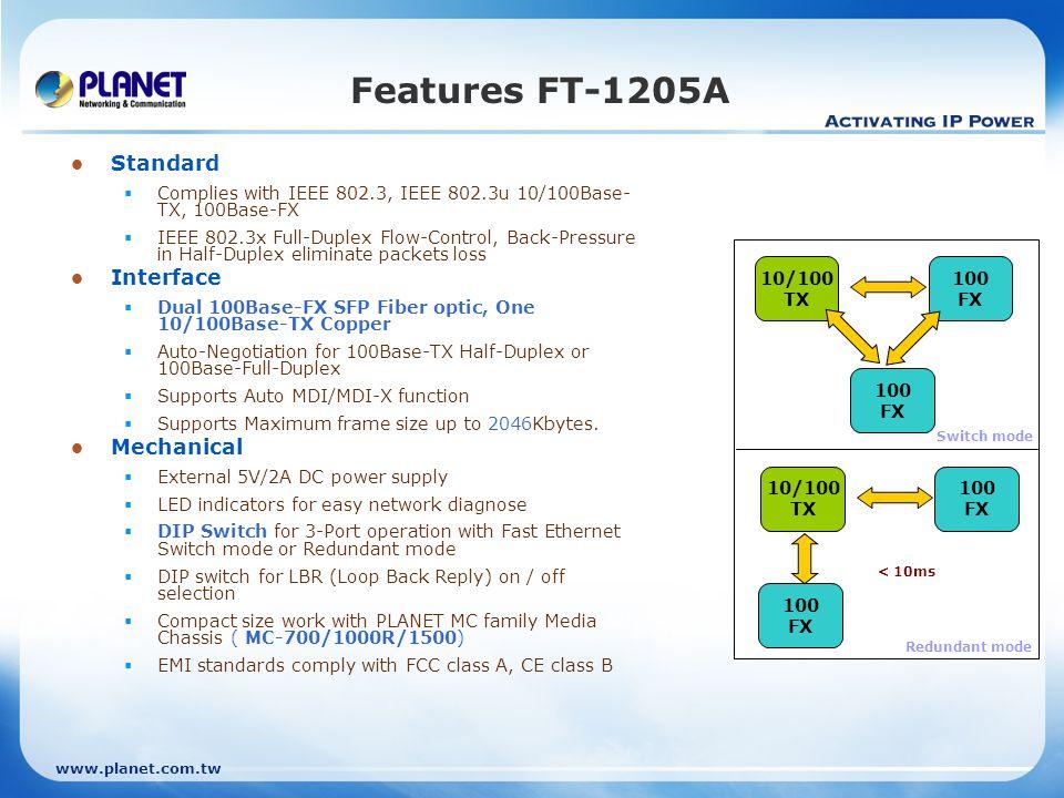 Features FT-1205A Standard Interface Mechanical