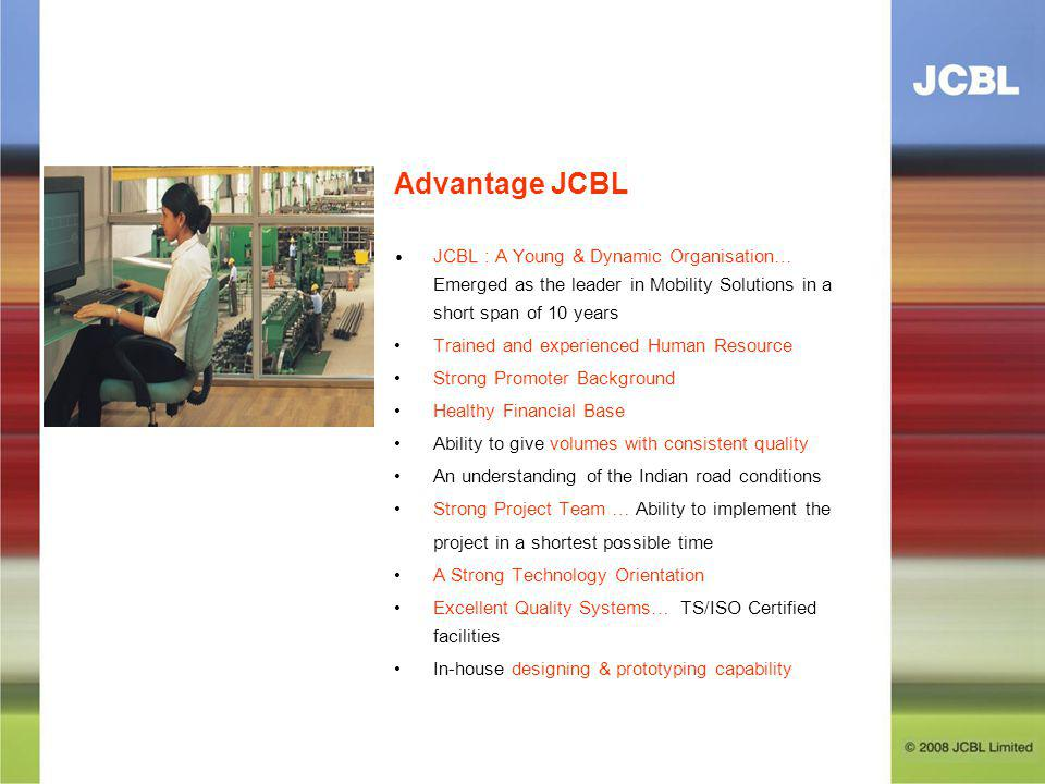 Advantage JCBL • JCBL : A Young & Dynamic Organisation… Emerged as the leader in Mobility Solutions in a short span of 10 years.