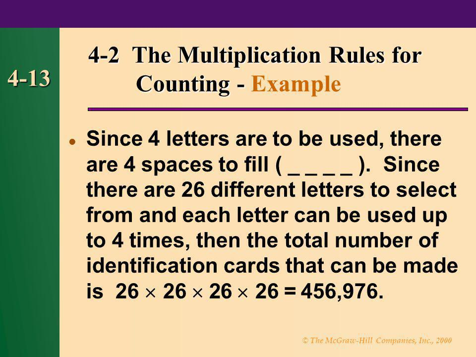 4-2 The Multiplication Rules for Counting - Example