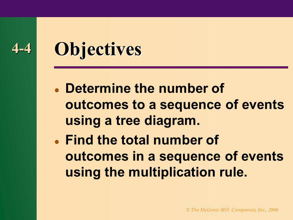 Objectives 4-4. Determine the number of outcomes to a sequence of events using a tree diagram.