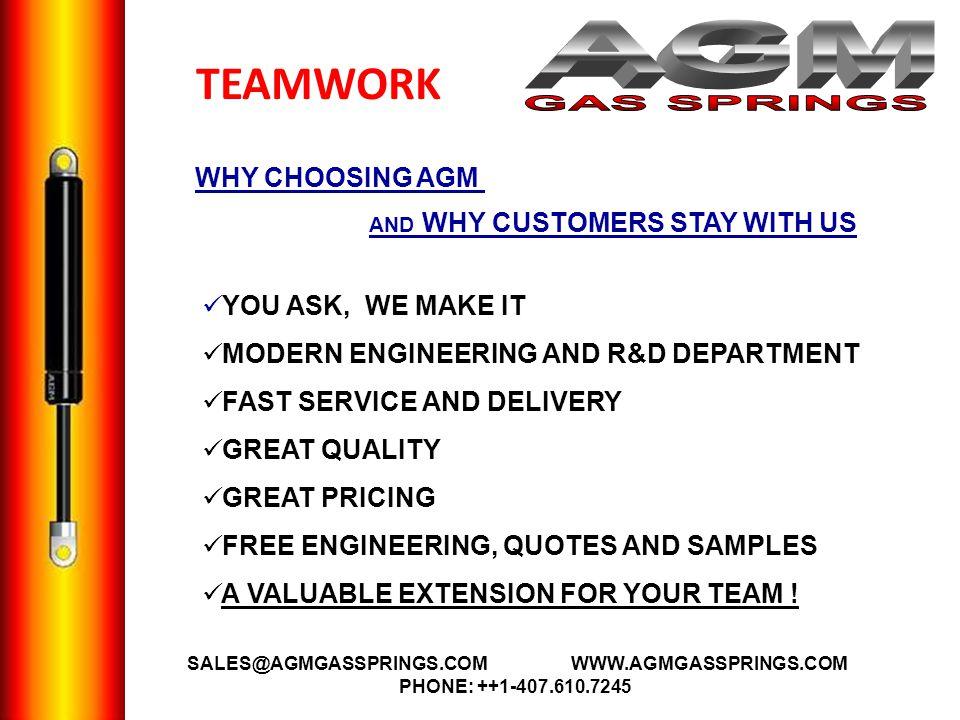 AGM GAS SPRINGS TEAMWORK A WHY CHOOSING AGM YOU ASK, WE MAKE IT