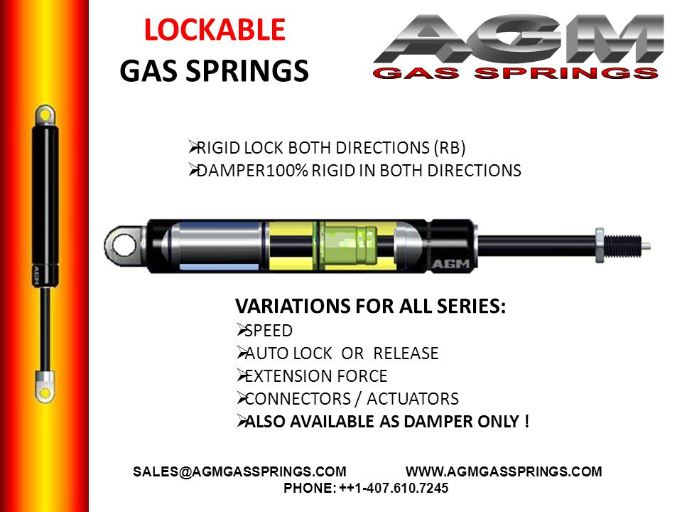 AGM GAS SPRINGS LOCKABLE GAS SPRINGS VARIATIONS FOR ALL SERIES: A