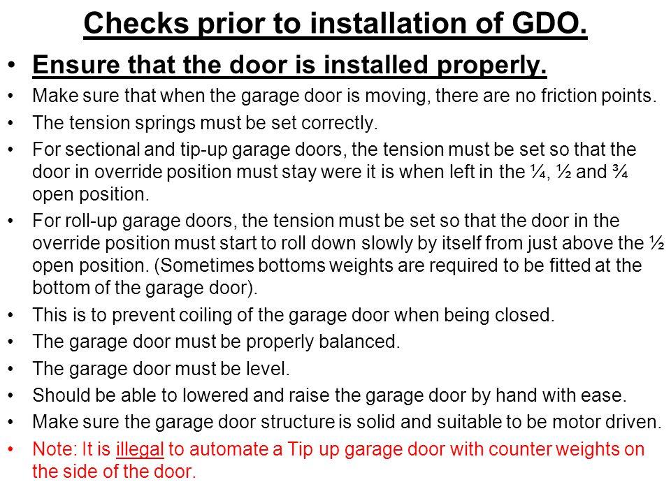 Checks prior to installation of GDO.