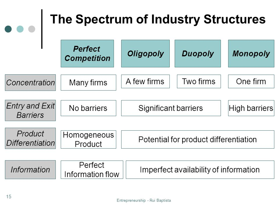 The Spectrum of Industry Structures