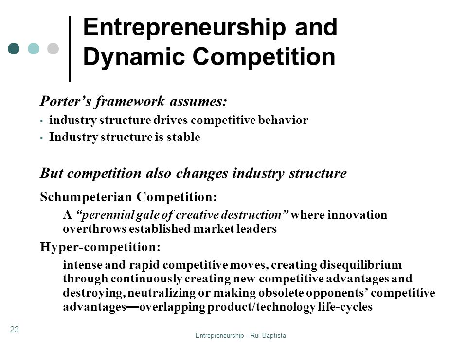 Entrepreneurship and Dynamic Competition