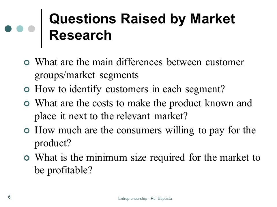 Questions Raised by Market Research
