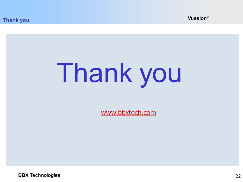 Thank you Vuesion® www.bbxtech.com Thank you
