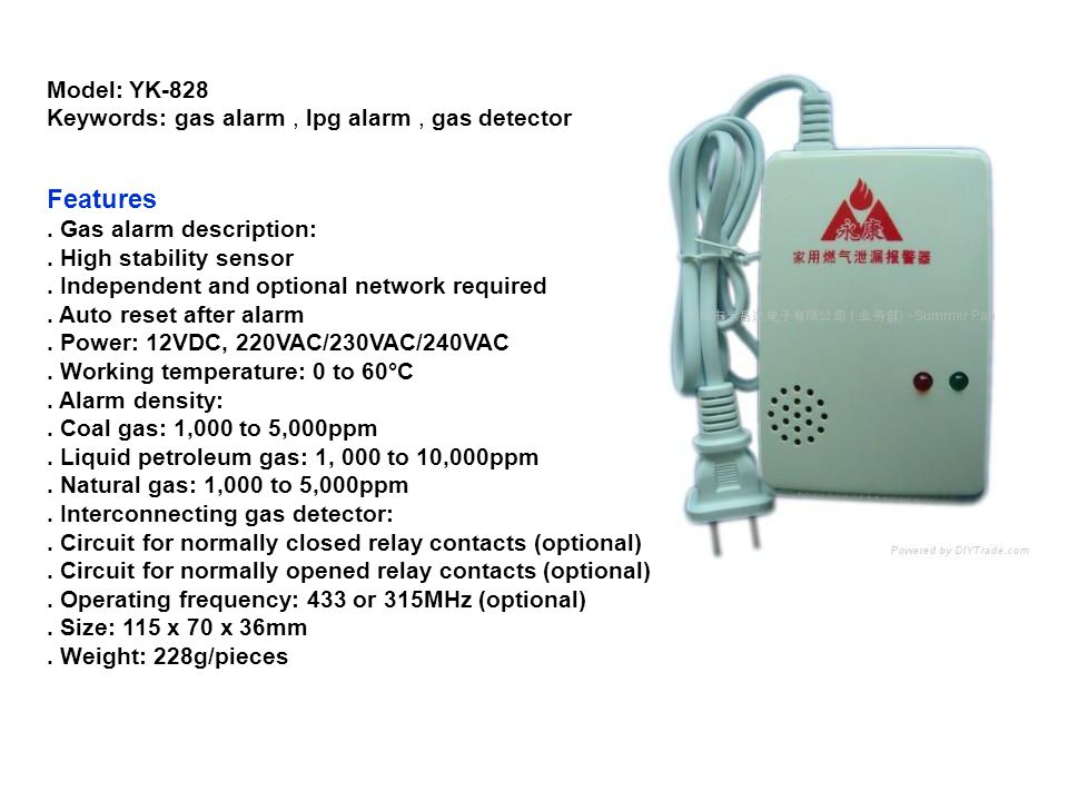Features Model: YK-828 Keywords: gas alarm , lpg alarm , gas detector