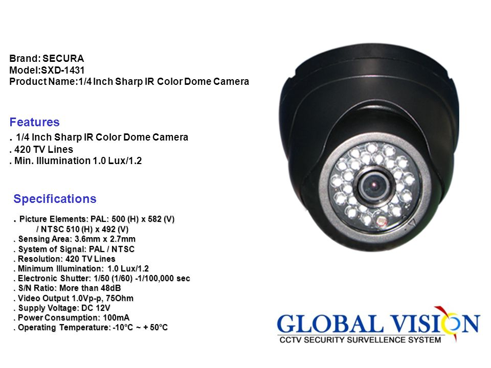 . 1/4 Inch Sharp IR Color Dome Camera