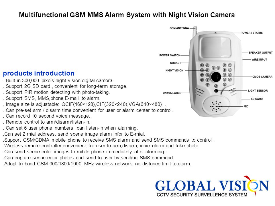 Multifunctional GSM MMS Alarm System with Night Vision Camera