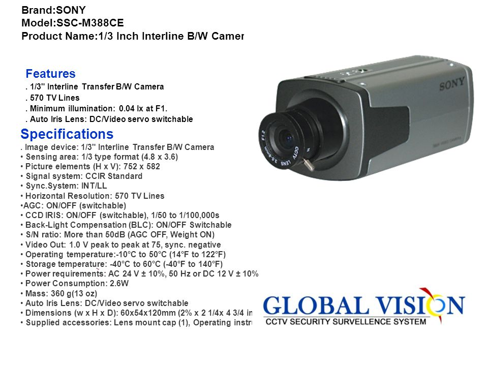 Brand:SONY Model:SSC-M388CE Product Name:1/3 Inch Interline B/W Camera