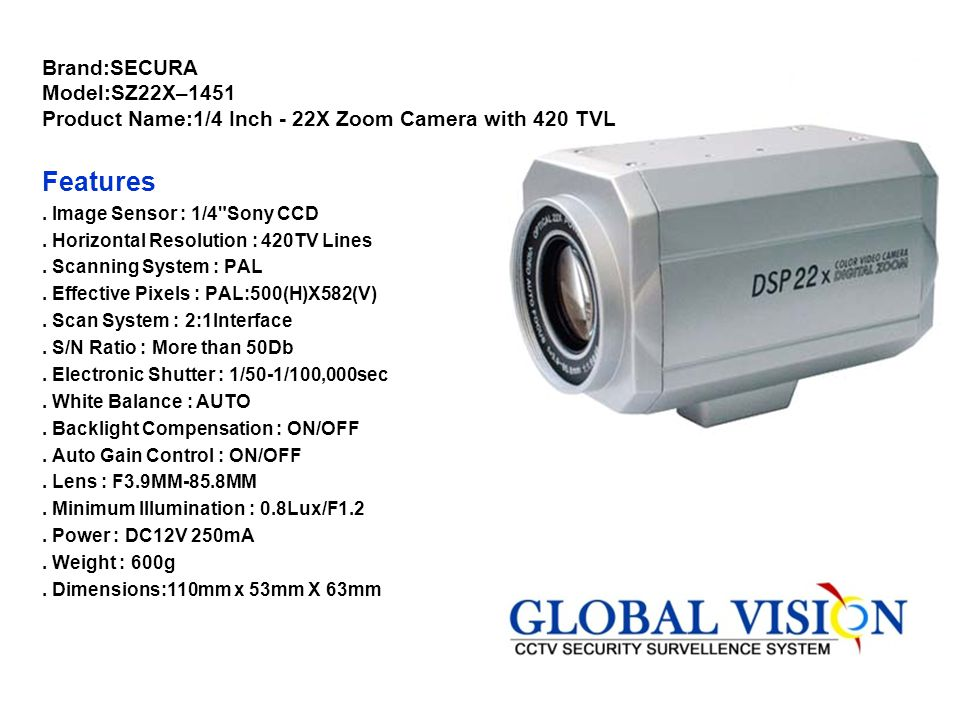 Brand:SECURA Model:SZ22X–1451 Product Name:1/4 Inch - 22X Zoom Camera with 420 TVL