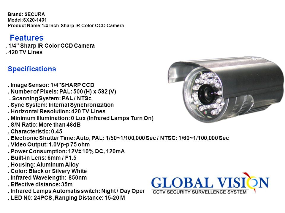 Features Specifications . 1/4 Sharp IR Color CCD Camera