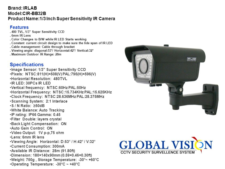 Brand: IRLAB Model:CIR-BB32B Product Name:1/3 Inch Super Sensitivity IR Camera