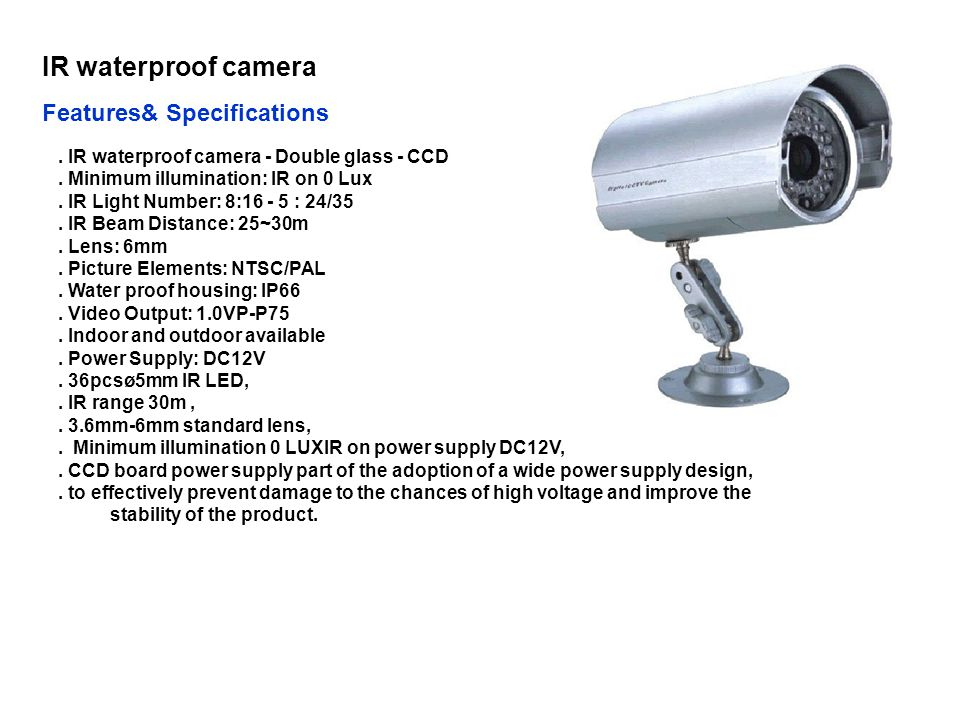 IR waterproof camera Features& Specifications
