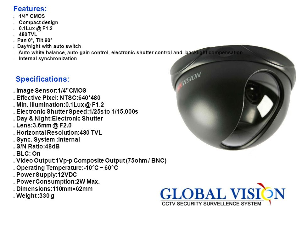 Features: Specifications: . Image Sensor:1/4 CMOS