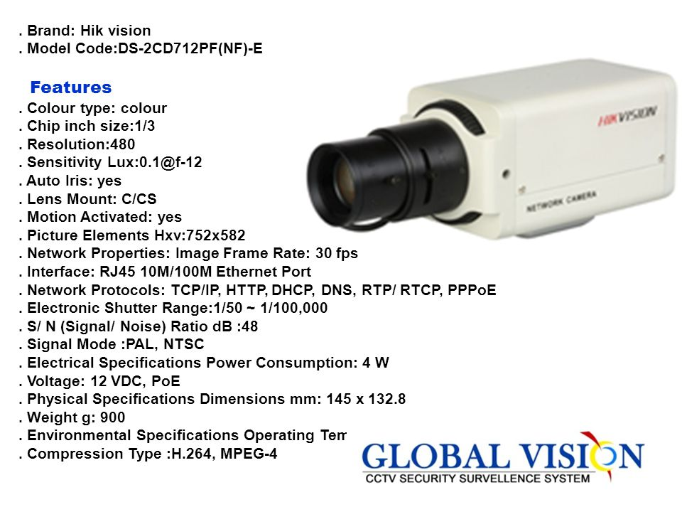 Features . Brand: Hik vision . Model Code:DS-2CD712PF(NF)-E