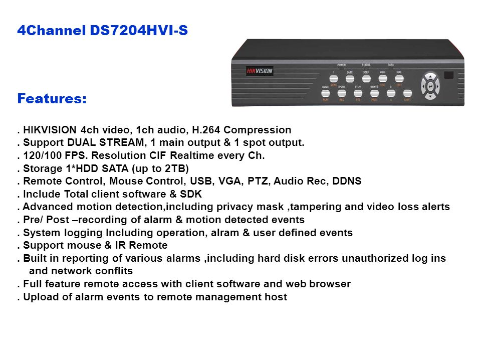 4Channel DS7204HVI-S Features: