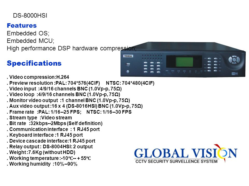 Specifications DS-8000HSI Features Embedded OS; Embedded MCU;