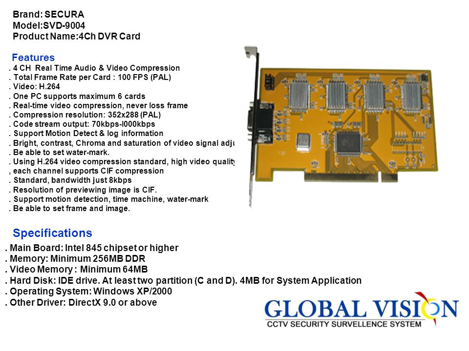 Brand: SECURA Model:SVD-9004 Product Name:4Ch DVR Card