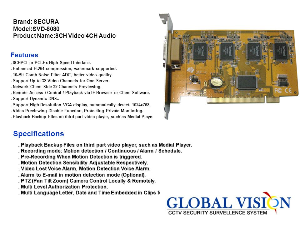 Brand: SECURA Model:SVD-8080 Product Name:8CH Video 4CH Audio