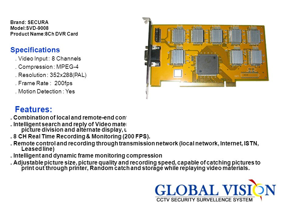 Brand: SECURA Model:SVD-9008 Product Name:8Ch DVR Card